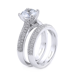 18KT.WHITE ENGAGEMENT SET DIAM-0.92CT