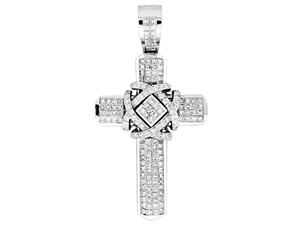 18KTW INVISIBLE AND PAVE SET CROSS PENDANT, DIAMOND 8.59CT