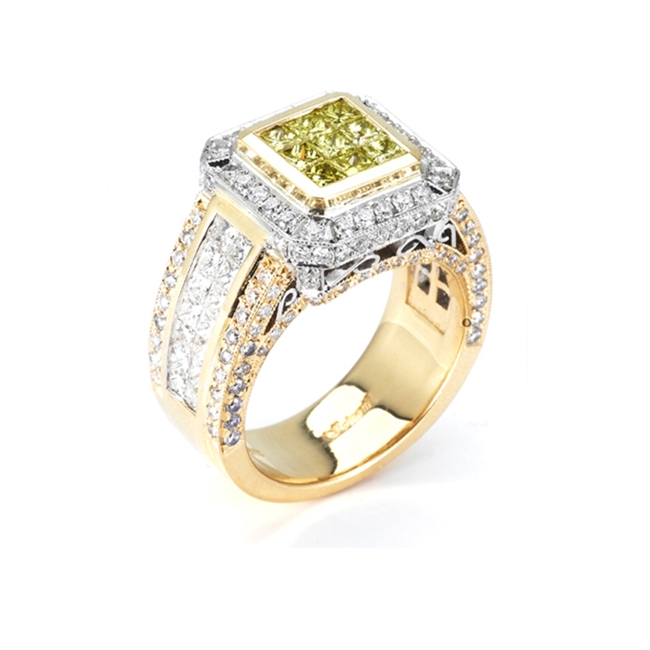 18KT 2 TONE FASHION RING, DIAMOND 2.97CT