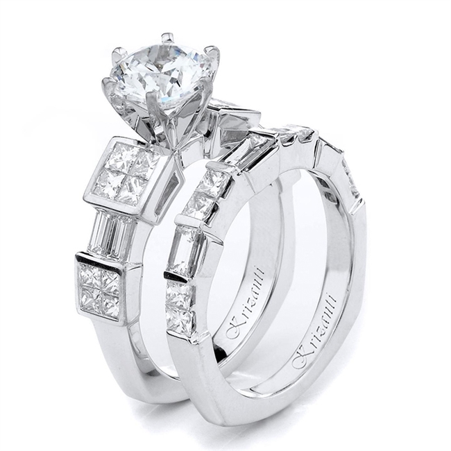 18KTW INVISIBLE SET, ENGAGEMENT SET  2.20CT