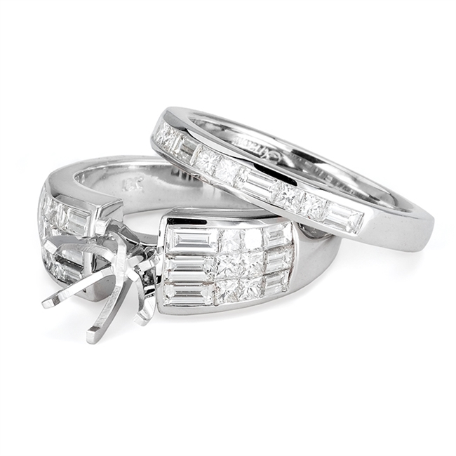 18KTW INVISIBLE SET, ENGAGEMENT SET 1.86CT