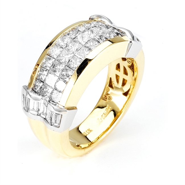 18KT 2 TONE INVISIBLE SET BAND, DIAMOND 2.40CT