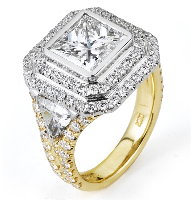 18KT 2 TONE  ENGAGEMENT RING, DIAMOND 2.47CT