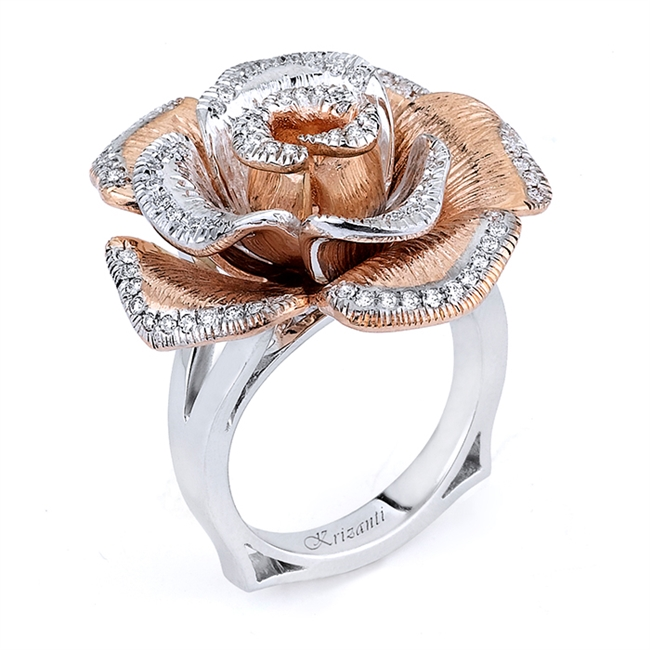 18KT 2 TONE FASHION RING, DIAMOND 0.37CT