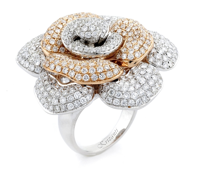 18KT 2 TONE FASHION RING, DIAMOND 4.50CT