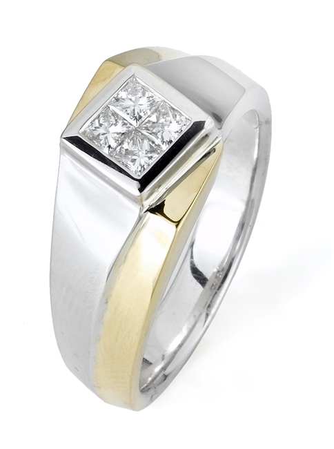 18KT. 2 TONE  GENT'S RING 0.62CT