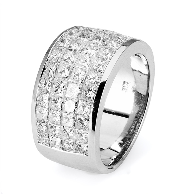 18KTW INVISIBLE SET BAND, DIAMOND  4.42CT