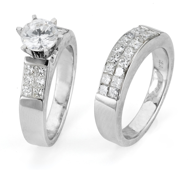 18K.WHITE ENG.SET 1.36ct