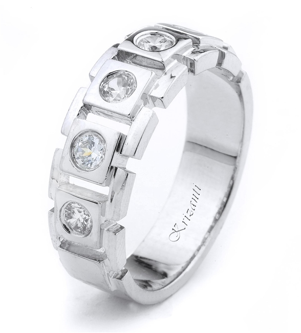 18K.WHITE GENT'S BAND 0.50ct
