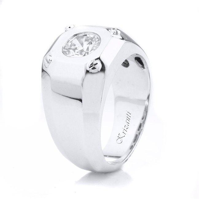 18K.WHITE GENT'S RING