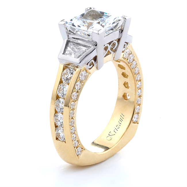 18KT. 2-TONE ENGAGEMENT RING DIAM-2.00CT TW.