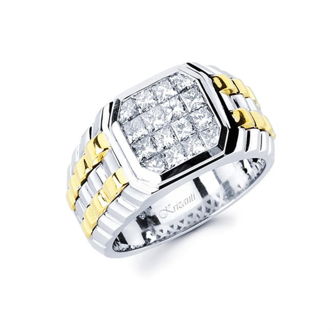 18KT 2 TONE INVISIBLE SET GENT'S RING, DIAMOND 1.76CT