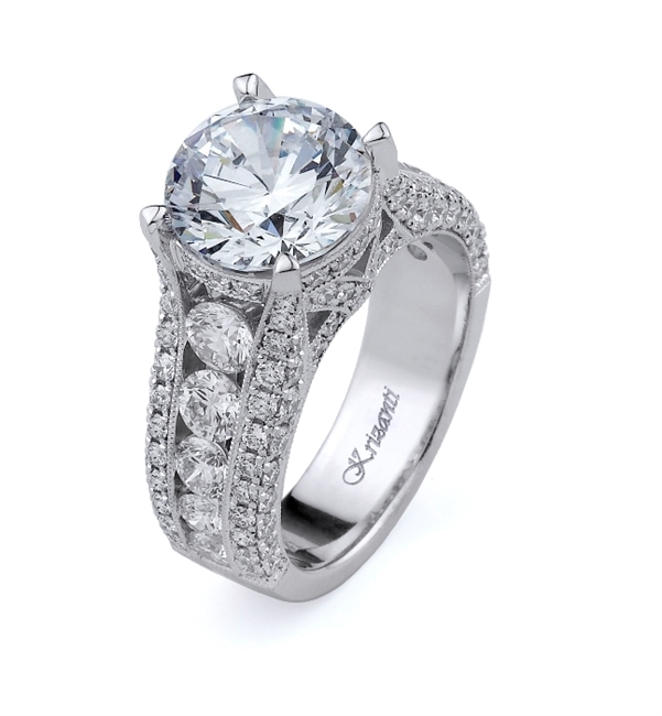 18K WHITE ENGAGEMENT RING 2.56ct