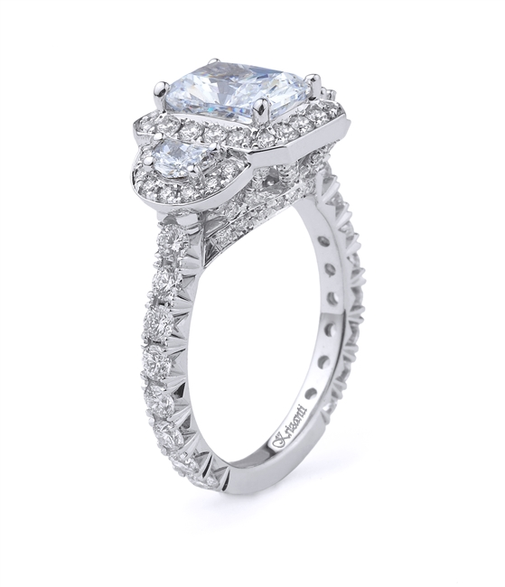 18K WHITE ENGAGEMENT RING HLFMN-0.30CT RD-1.25CT