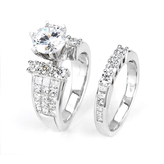 18KTW INVISIBLE SET, ENGAGEMENT SET 2.39CT