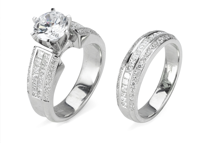 KRIZANTI 18K WHITE ENGAGEMENT SET 1.85ct