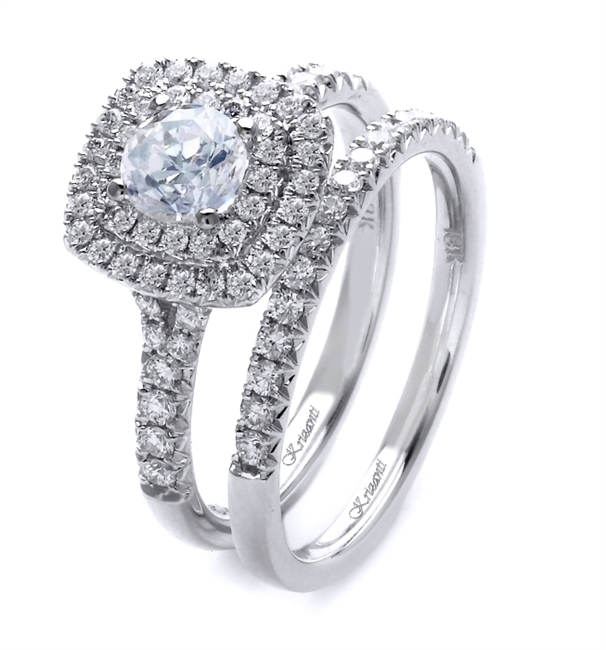 18K WHITE ENGAGEMENT SET 0.66ct