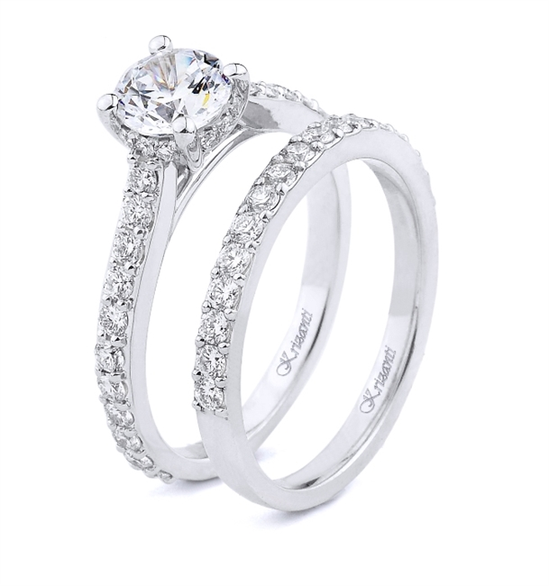 18K WHITE ENGAGEMENT SET 1.09ct